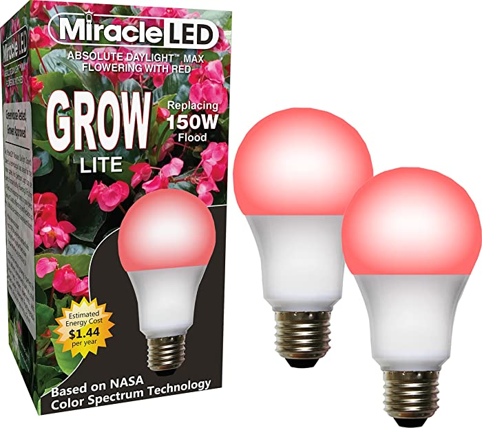 Miracle LED Absolute Daylight MAX Flowering Red LED Grow Lite - Replaces up to 150W - For Intense Flowering and Fruiting of your Indoor Plants and DIY Horticulture & Hydroponic Gardens (604270) 2 Pack