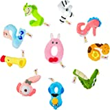 Klassmix Number Crunchers Educational Plush Toys - 10 Pieces - Learning Colors - Number Shaped Stuffed Animals for Baby, Toddler, Infant Strollers and Carseats - All Ages Including 0-6 Months