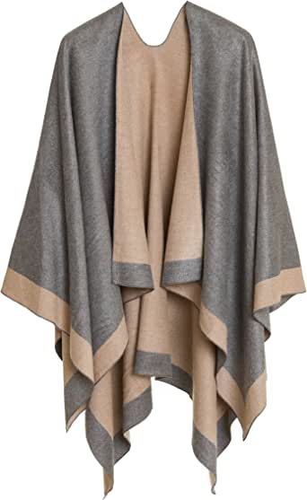 MELIFLUOS DESIGNED IN SPAIN Women's Shawl Wrap Poncho Ruana Cape Cardigan Sweater Open Front for Fall Winter