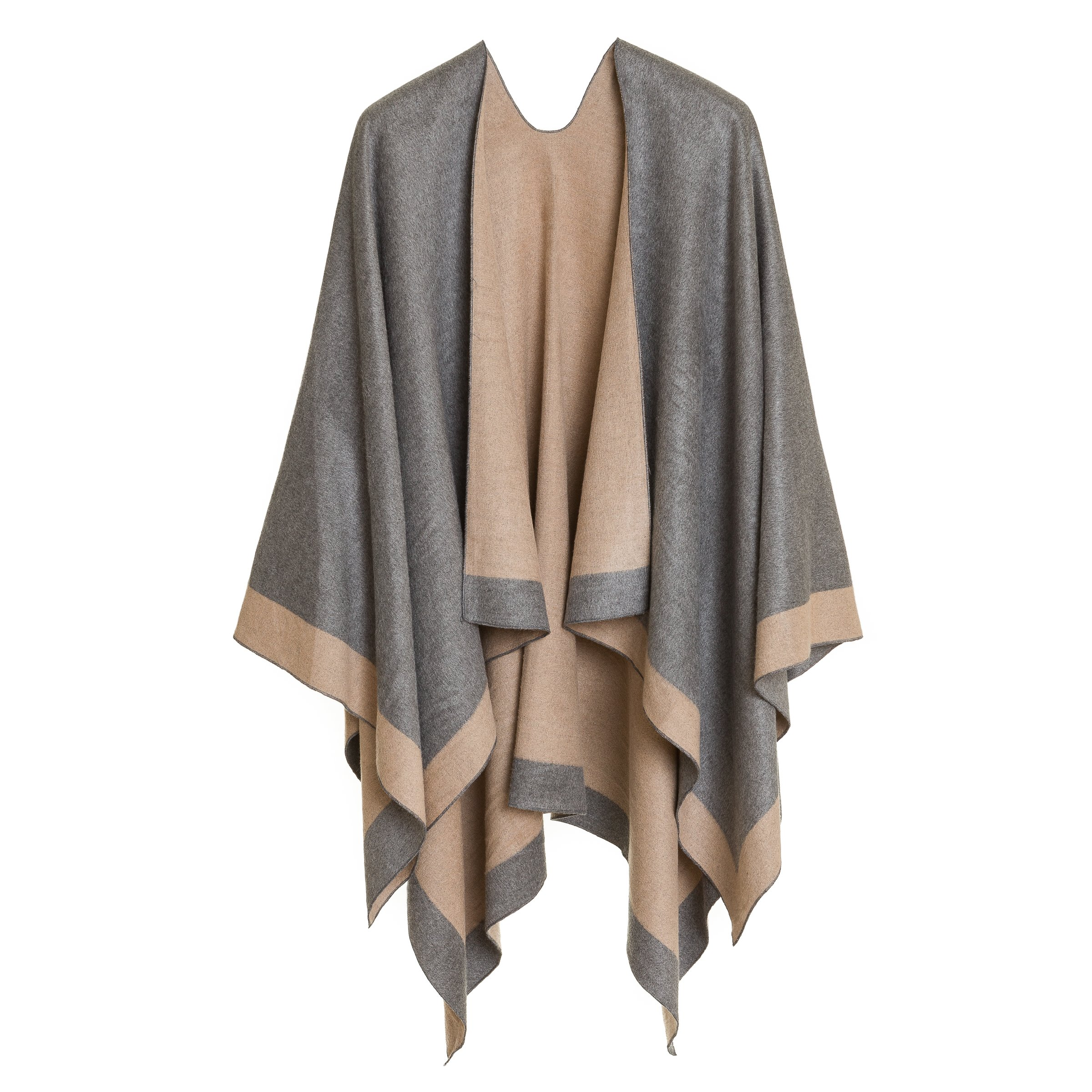 Cardigan Poncho Cape: Women Elegant Gray Beige Reversible Cardigan Shawl Wrap Sweater Coat for Winter (Light Gray Beige)