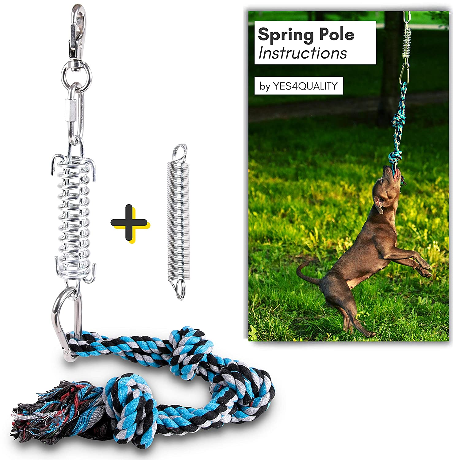 Durable Spring Pole for Pitbull - Strong Dog Rope Toy & 2 Different Capacity Springs Included - Ideal for Medium to Large Dogs & Puppies - Safe Outdoor Exercise, Pull & Tug of War Toy - Muscle Builder