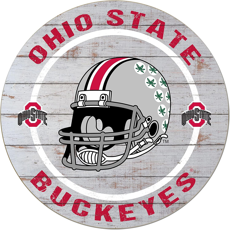 "KH Sports Fan 20""x20"" Weathered Ohio State Buckeyes Helmet Circle Wall Sign"