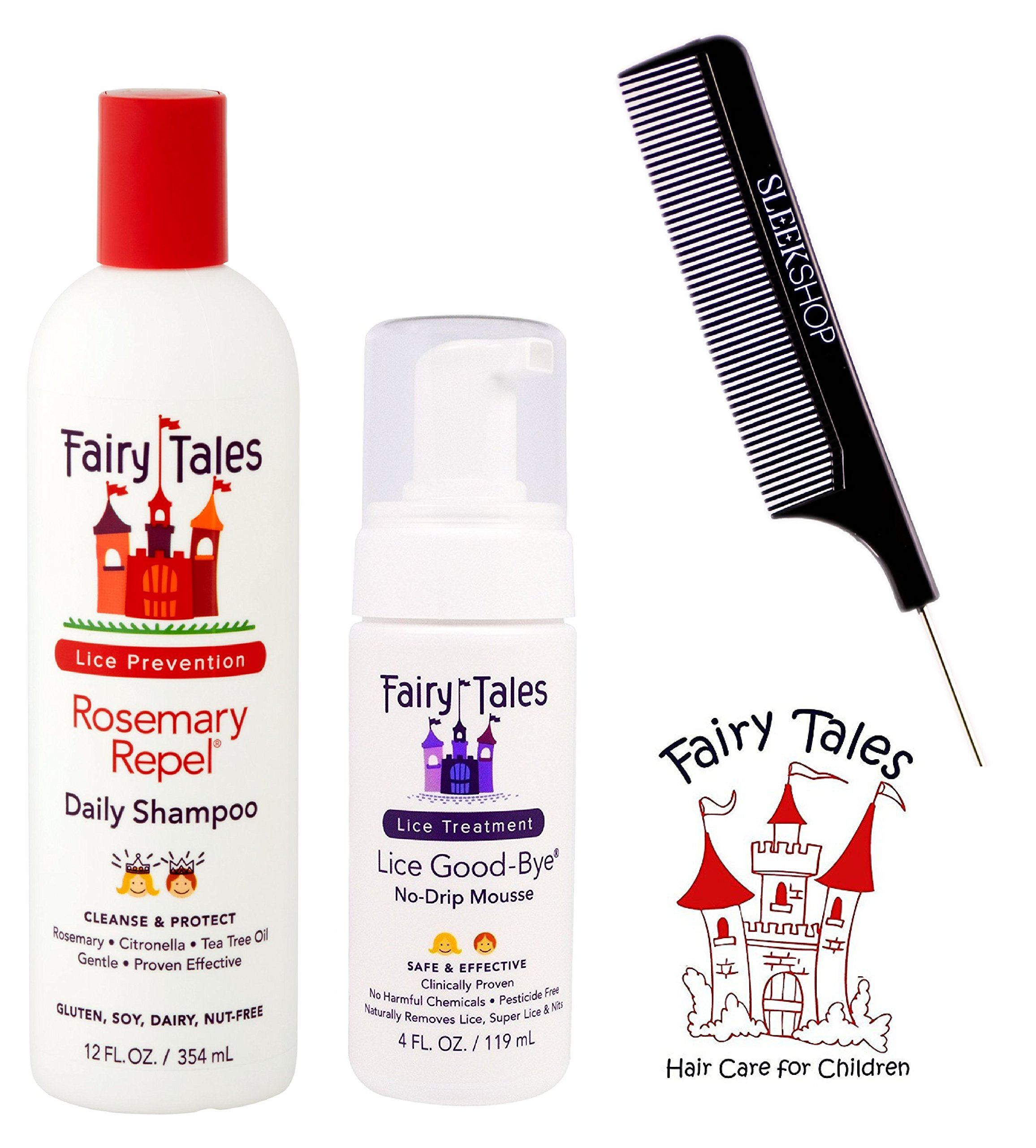 Fairy Tales Rosemary Repel DAILY SHAMPOO & LICE GOOD-BYE No-Drip (with Sleek Steel Pin Tail Comb) (12 oz + 4 oz - retail DUO kit) by Lice Shampoo and Good Bye by Fairy Tales