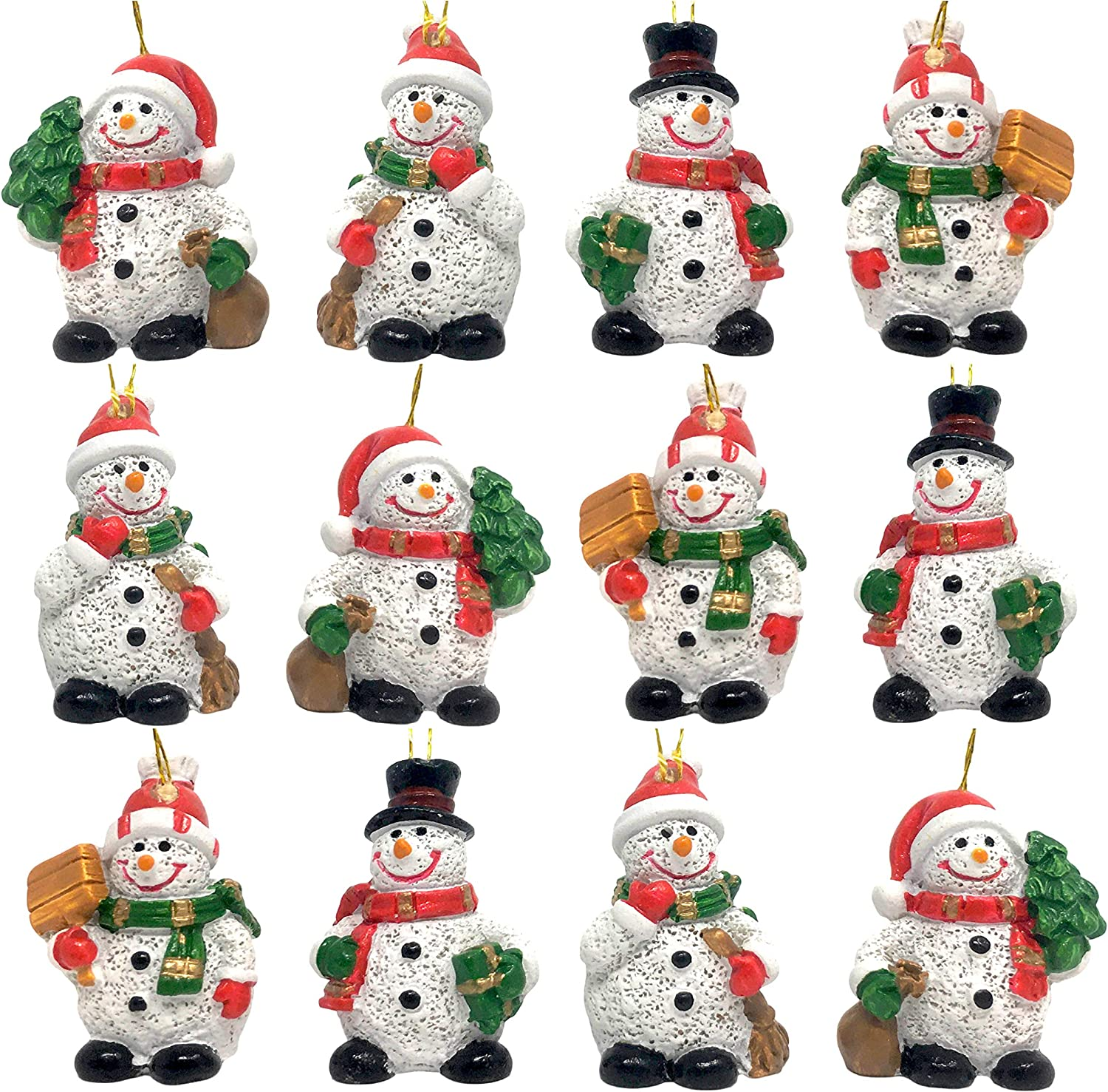 Amazon Com Banberry Designs Mini Snowman Hanging Ornaments Set Of 12 Miniature Snowmen With Red Green And Gold Accents Four Assorted Designs Approx 1 25 Inches Tall Kitchen Dining