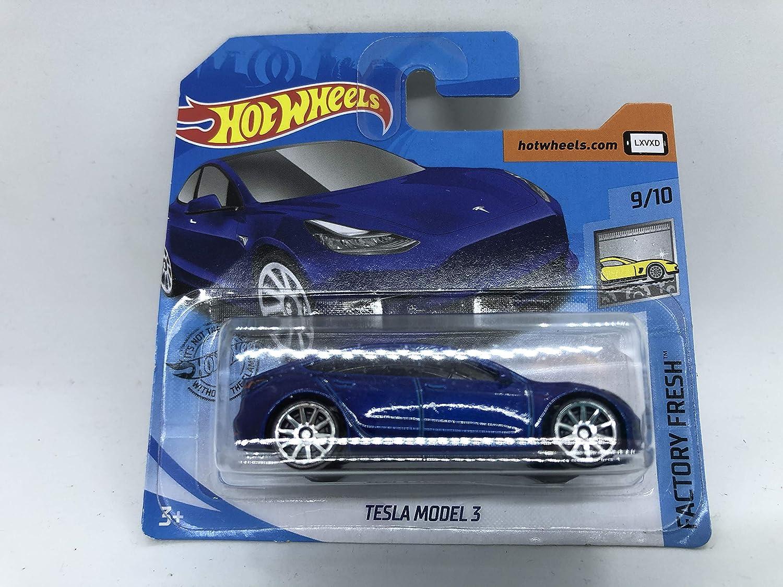 2020 Hot Wheels Tesla Model 3 Metallic Blue 9//10 Factory Fresh 112//250 Short Card 2nd Colour