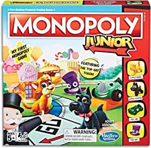 Monopoly - Junior (Amazon Exclusive) - 2 to 4 Players - Kids Board Games - Ages 5+