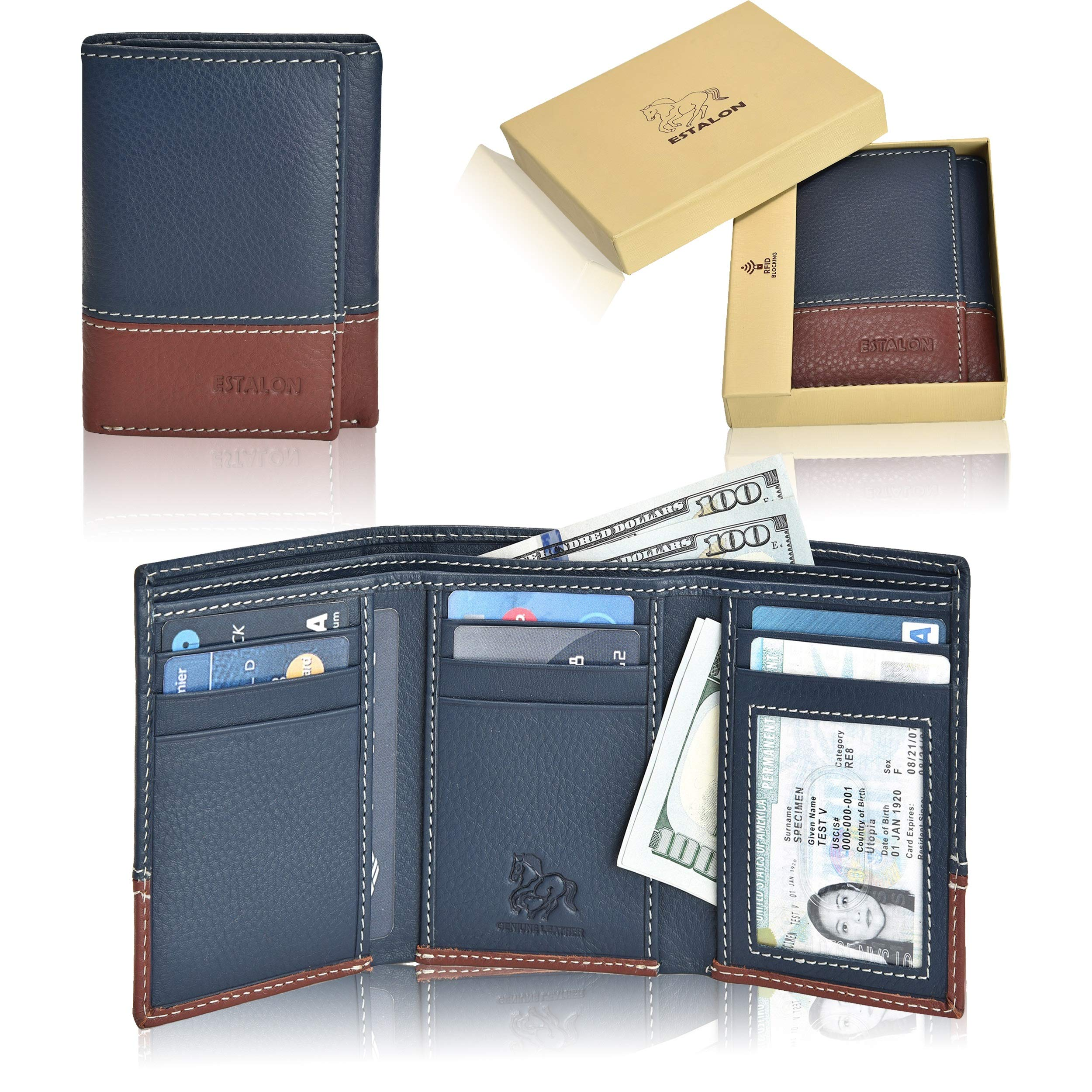 Slim Leather RFID Trifold for Men - Handmade RFID Blocking Genuine Leather 7 Card Holder With ID Window by Estalon