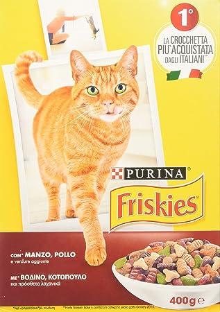 Friskies Adult pienso para el Gato, con Manzo, Pollo y Verduras aggiunte, 400 g - Paquete de 20 Unidades: Amazon.es: Productos para mascotas