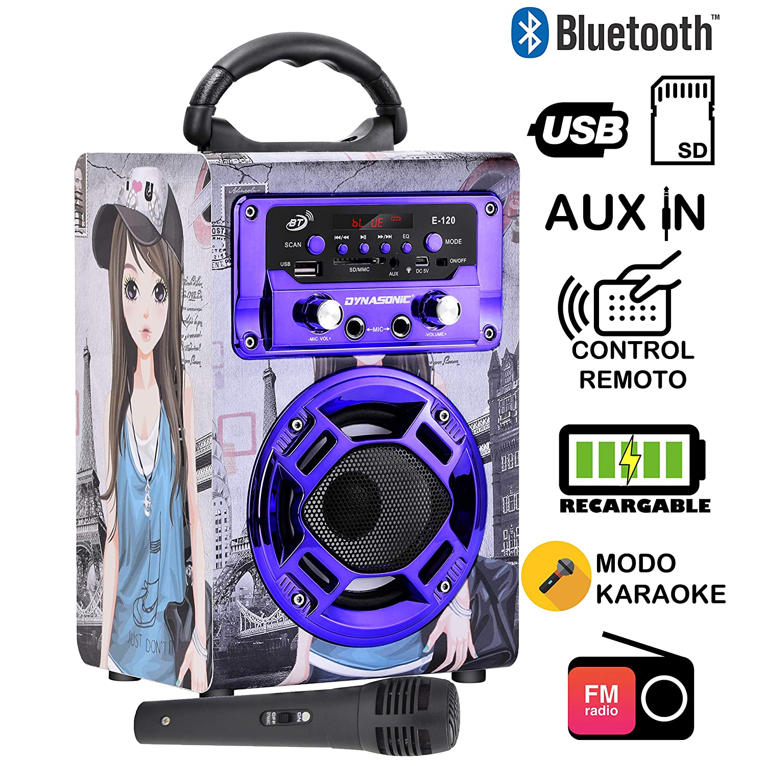 dynasonic 120 - Mini altoparlante bluetooth portatile karaoke 2