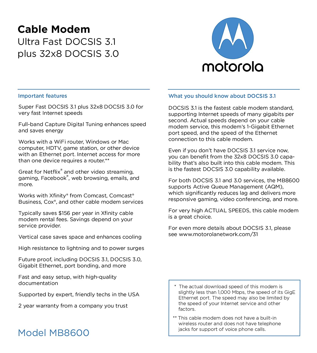MOTOROLA DOCSIS 3 1 Cable Modem, 6 Gbps Max Speed  Approved for Comcast  Xfinity Gigabit, Cox Gigablast, and More (Model MB8600)