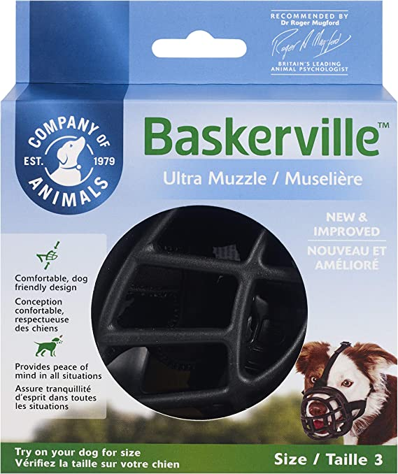 Baskerville Ultra - Bozal de goma, Negro, Talla 3 (Longitud: 8 cm ...