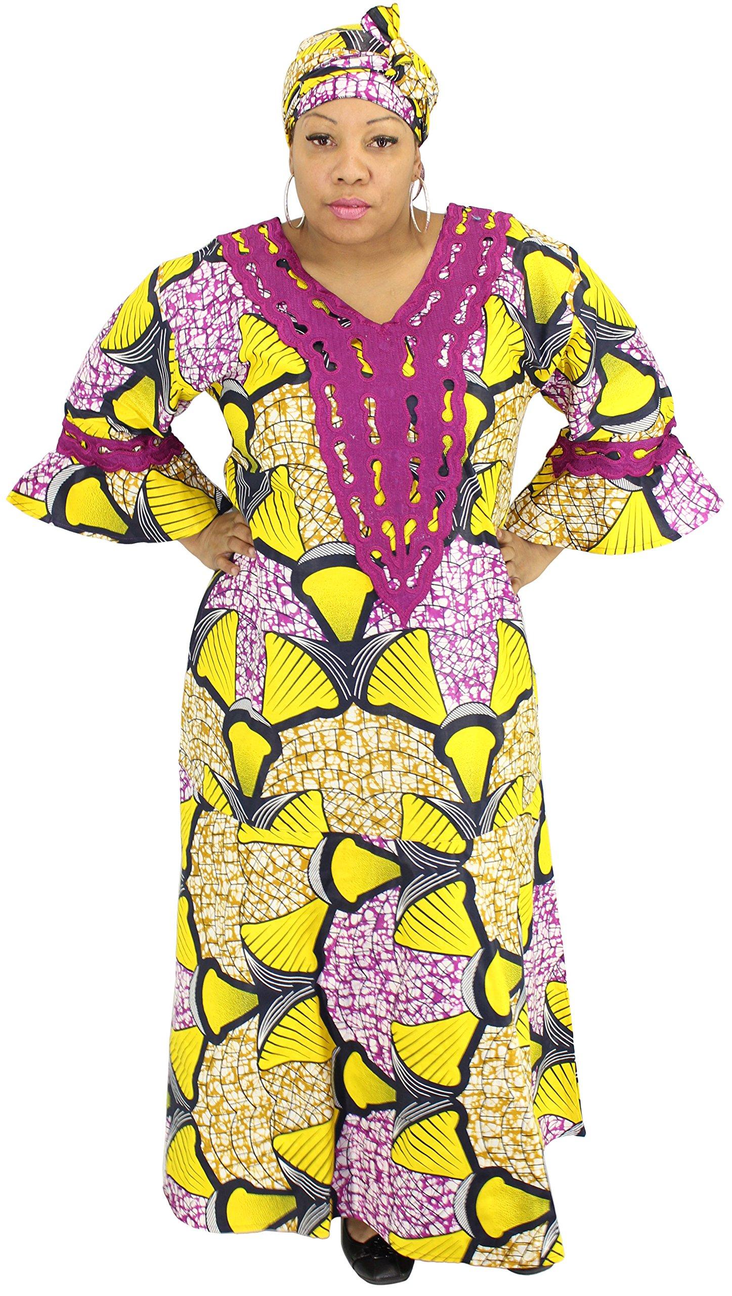 African Planet Women's Maxi Kaftan with Gele Headwrap (Yellow)