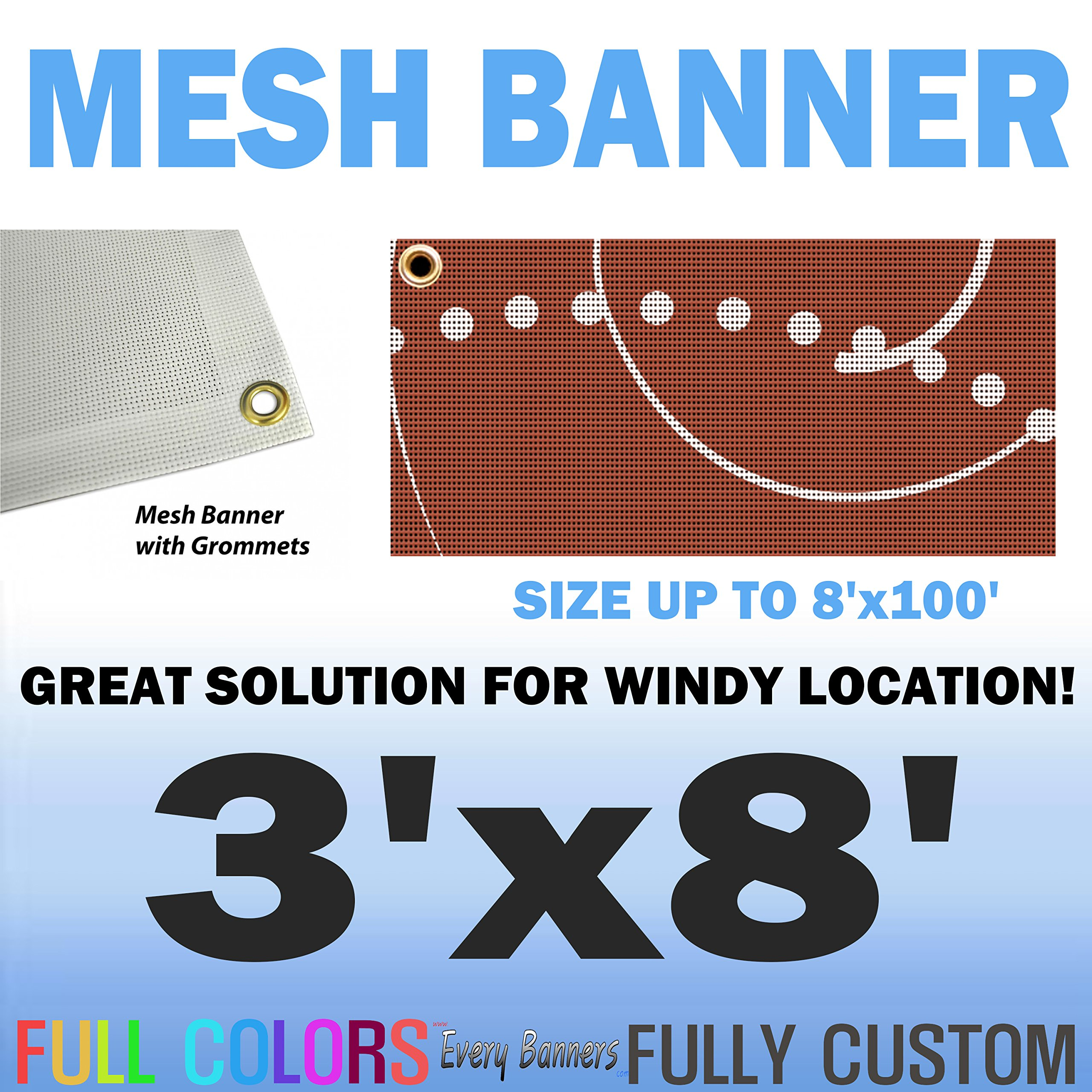 3'x8' Custom Full Color Mesh Banners Vinyl Signs