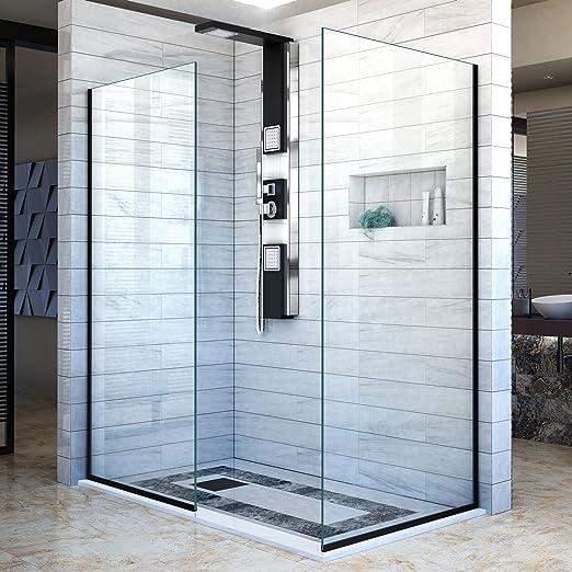 DreamLine línea dos individuales mamparas de ducha sin marco 34 cm y 30 en. W x 72 en. H, diseño de entrada abierta en satén negro, shdr-3230342 – 09: Amazon.es: Bricolaje y herramientas