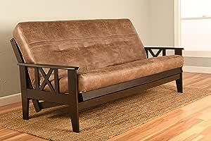 "Futon Montrose Espresso Frame w/ Premium Viva Storm 8"" Mattress Sofa Bed (Java)"