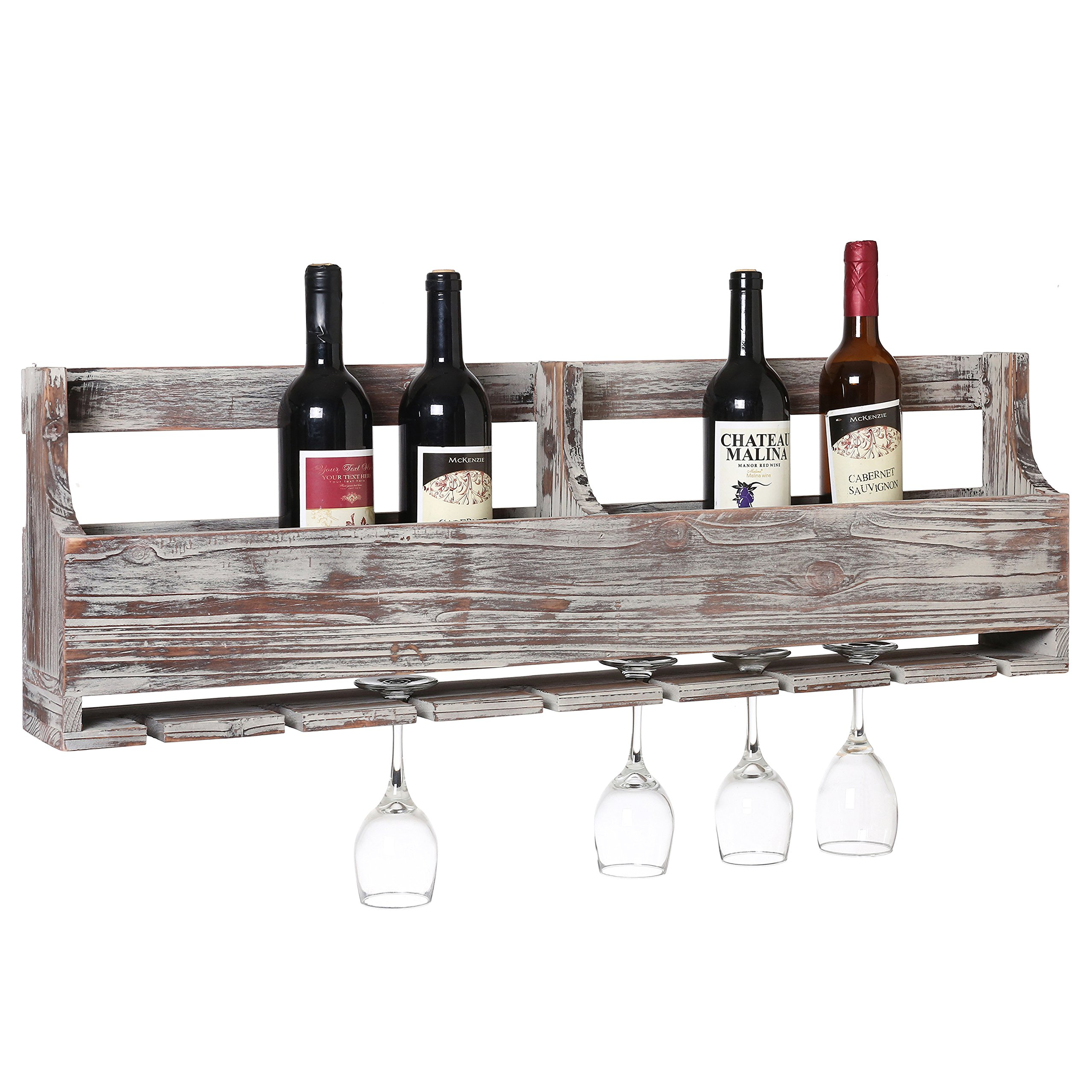 MyGift Distressed Gray Barnwood Wall-Mounted Stemware Glasses & Wine Bottle Display Rack by MyGift