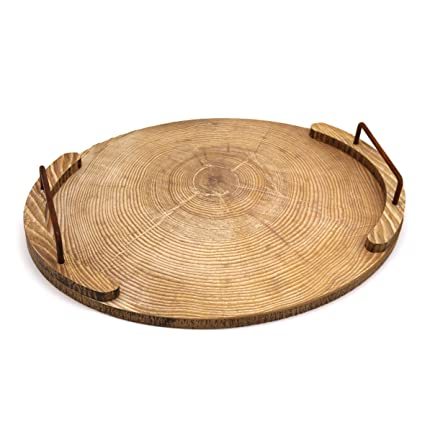 CVHOMEDECO. Oval Wooden Tray with Metal Handle Wood Serving Tray for Dining Tableware, Table