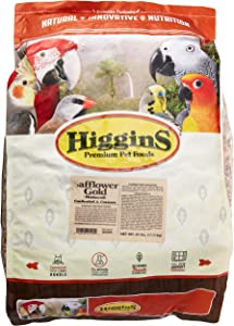 Higgins 466125 Safflower Gold Natural Food For Conure/Cockatiel, 25-Pound