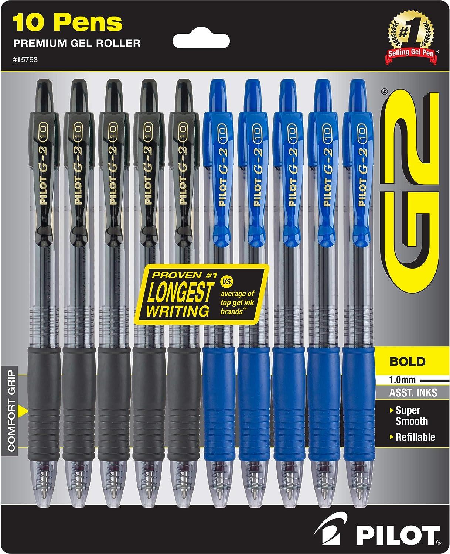 Pilot G2 Bold Pens, Premium Gel Pens, Bulk Pack Of 10 Pilot G2 Pens, 5 Black G-2 & 5 Blue Ink Pens, 1.0mm Medium Point, Retractable Rolling Ball, Office & School Pens for Women & Men. 15793