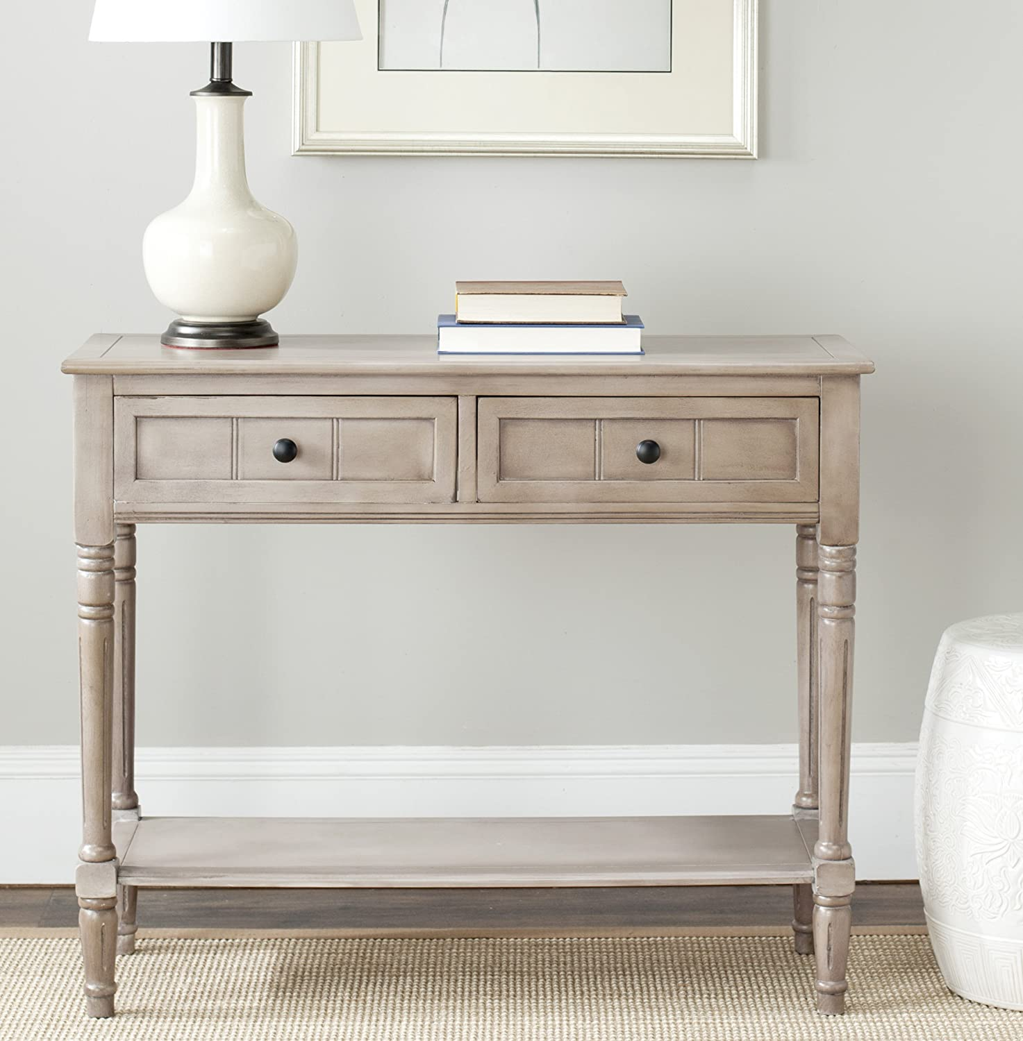 Safavieh American Homes Collection Samantha Vintage Grey 2-Drawer Console Table: Furniture & Decor