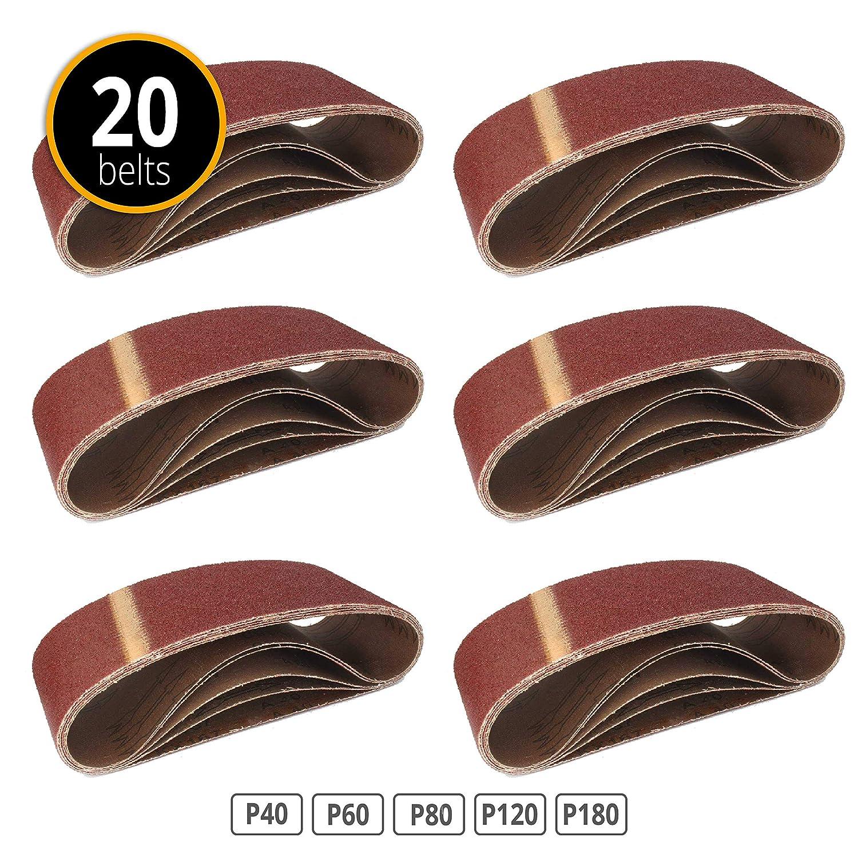 Bandas de lija (20 unidades, 75 x 457 mm, granulados 4 x 40/60/80/120/180 para lijadora de banda/cinta abrasiva 75x 457mm granulados 4x 40/60/80/120/180para lijadora de banda/cinta abrasiva FD-Workstuff