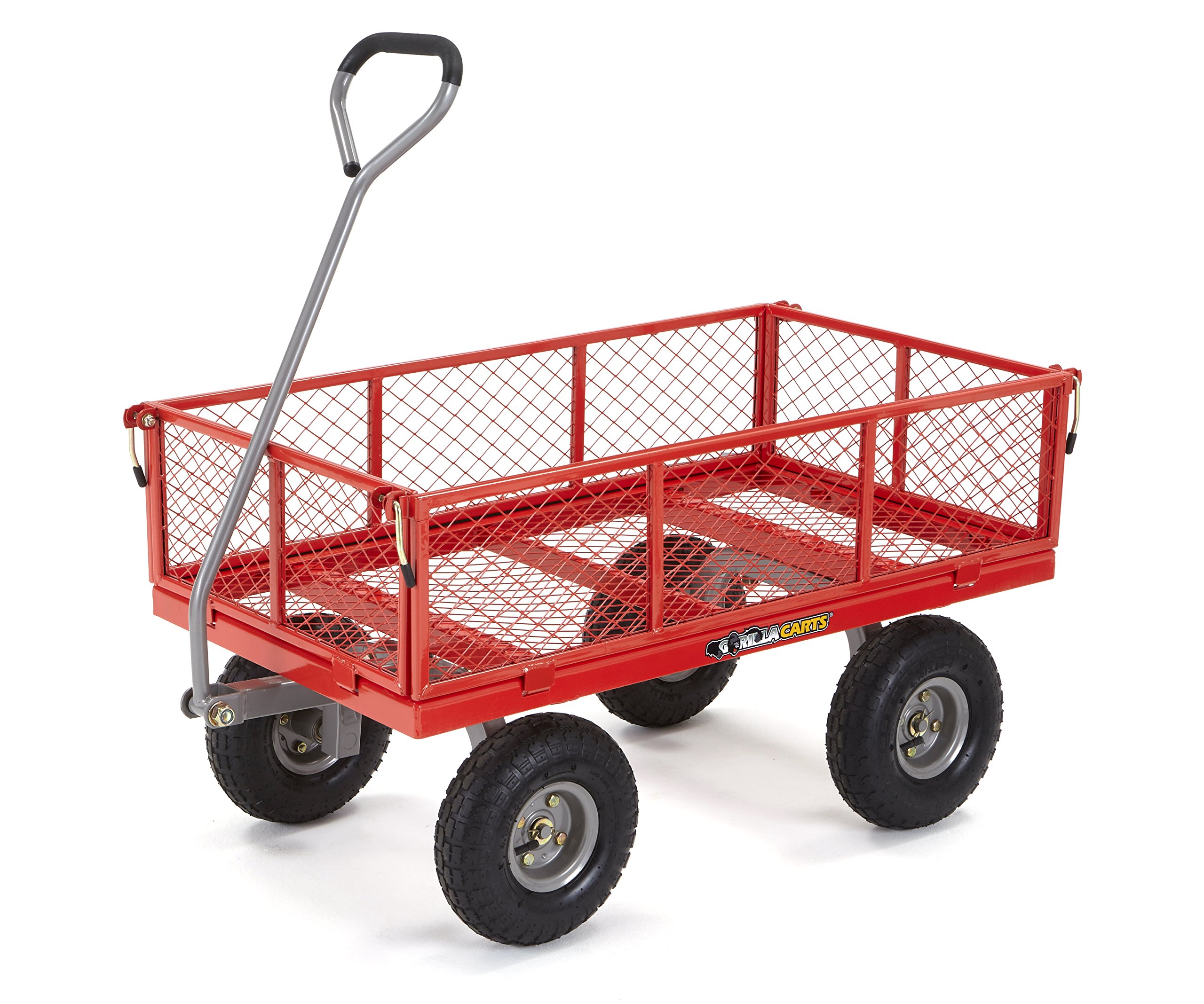 Gorilla Carts GOR800-COM Steel Utility Cart with Removable Sides, 800-lbs. Capacity, Red by Gorilla Carts