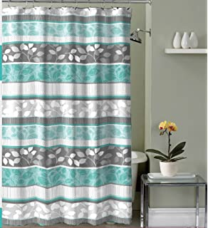 Aqua Blue Fabric Shower Curtain Primitive Striped Floral Design 70 By 72 Inches With