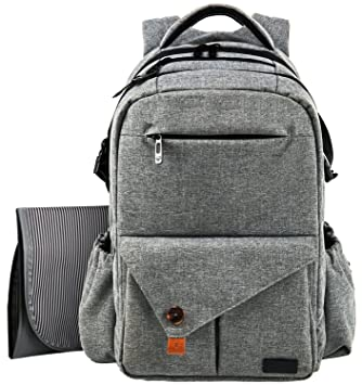 HapTim Multi-function Large Baby Diaper Bag Backpack W/Stroller Straps-Insulated  Pockets