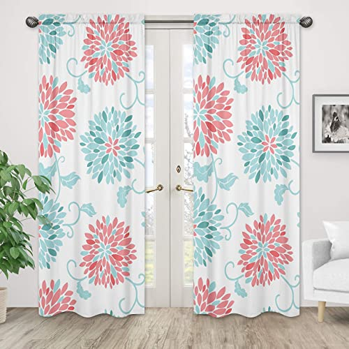 Window Treatment Panels for Modern Turquoise and Coral Emma Collection – Set of 2