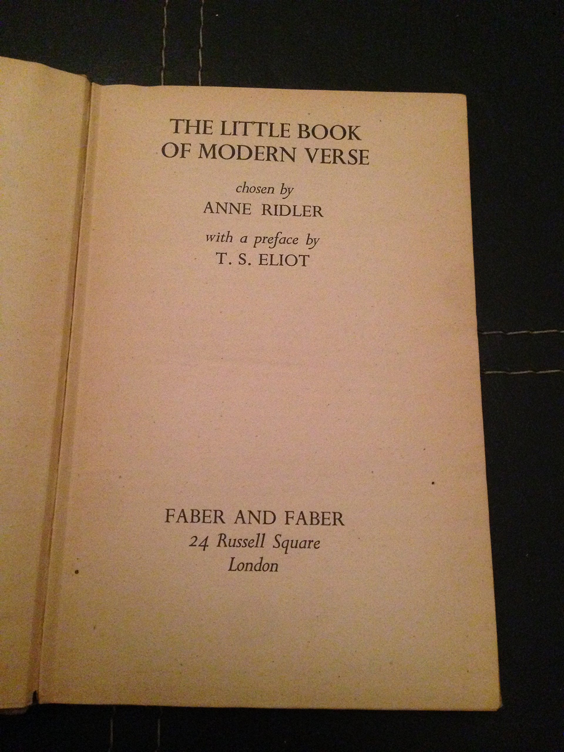A Little Book of Modern Verse, Ridler Anne (Editor)