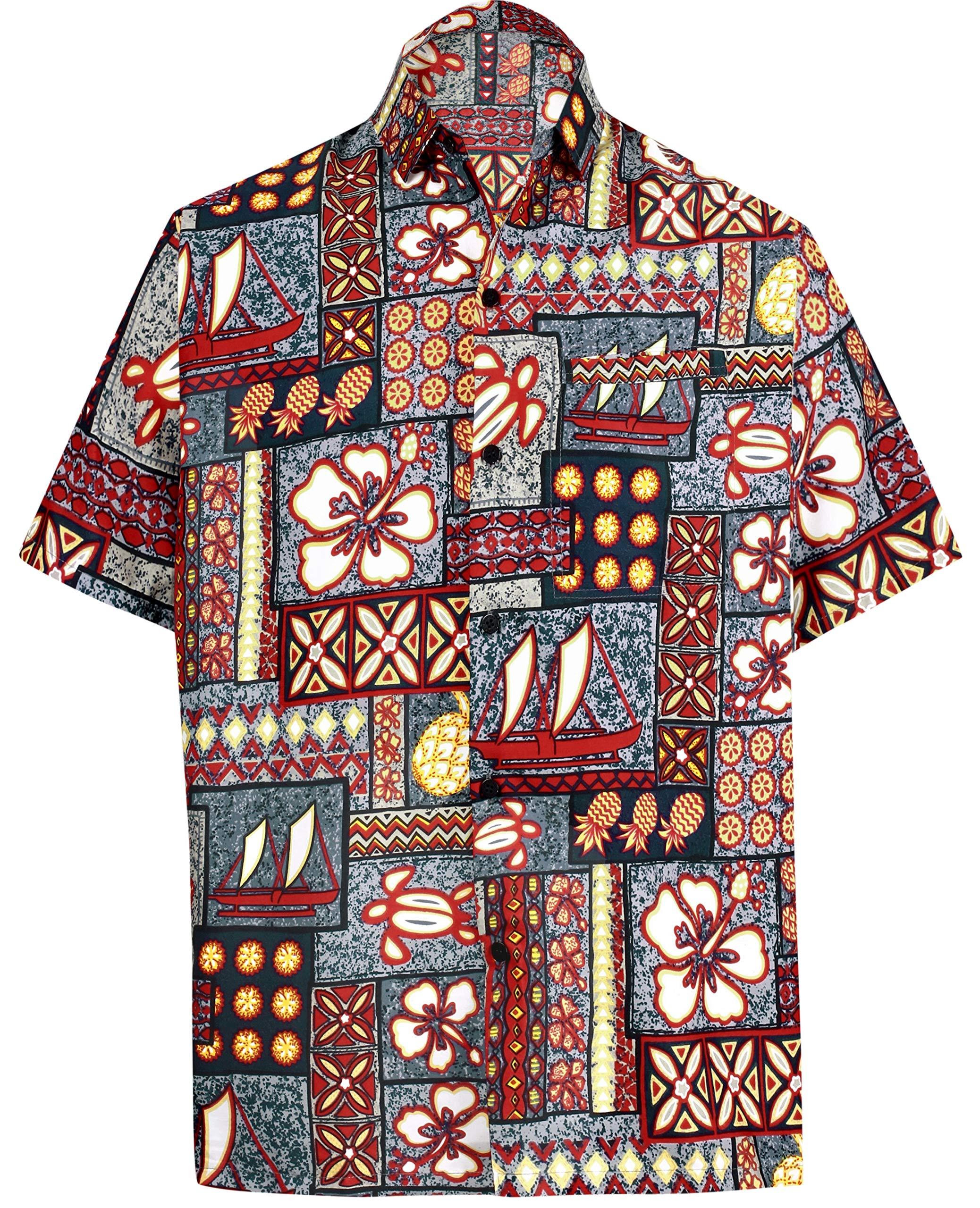 76fa4450 LA LEELA Hawaiian Shirt for Men Short Sleeve Front-Pocket Beach Caribbean  Grey Grey product