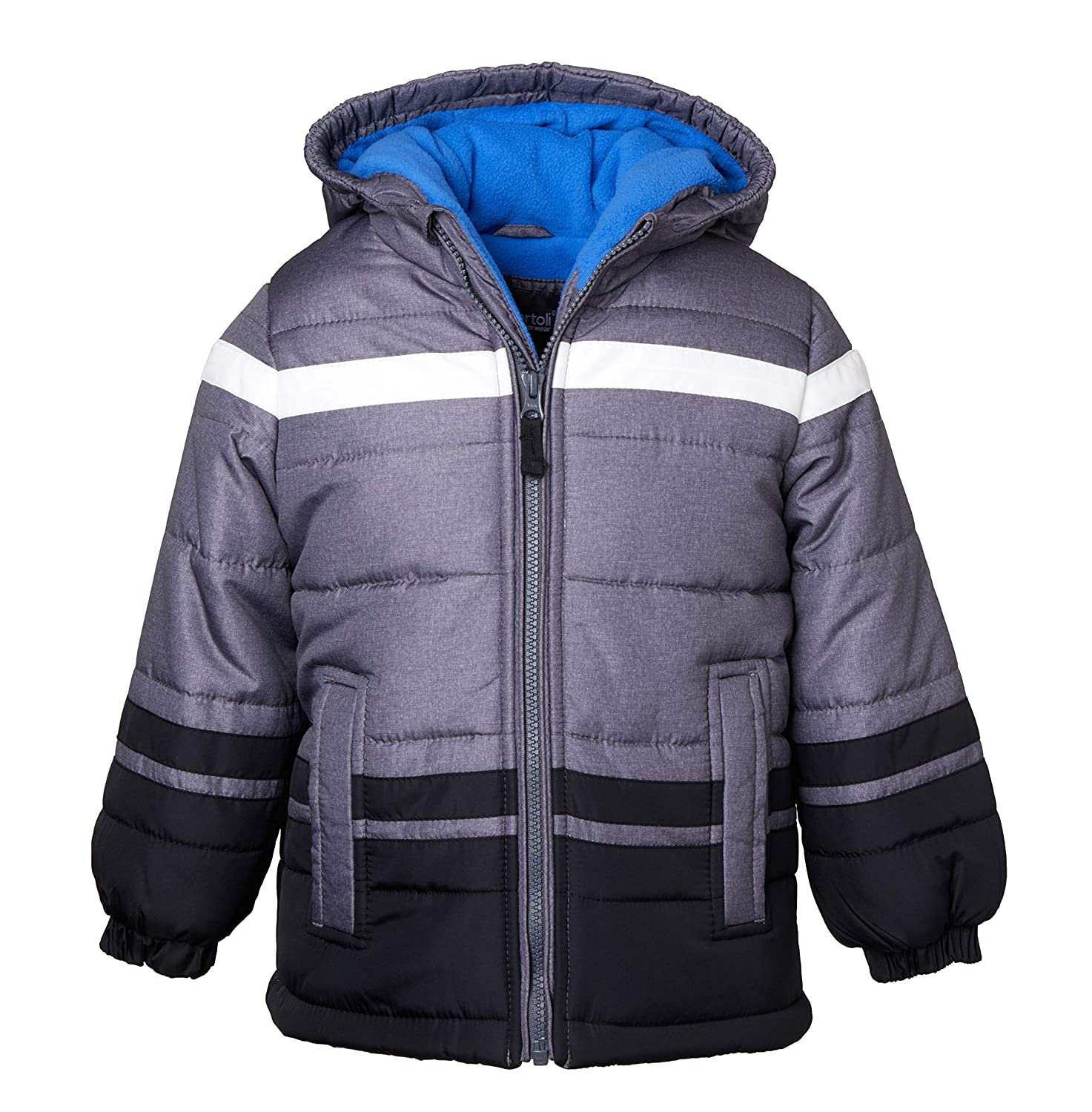 Sportoli Boys' Fleece Lined Hooded Colorblock Winter Puffer Bubble Jacket Coat