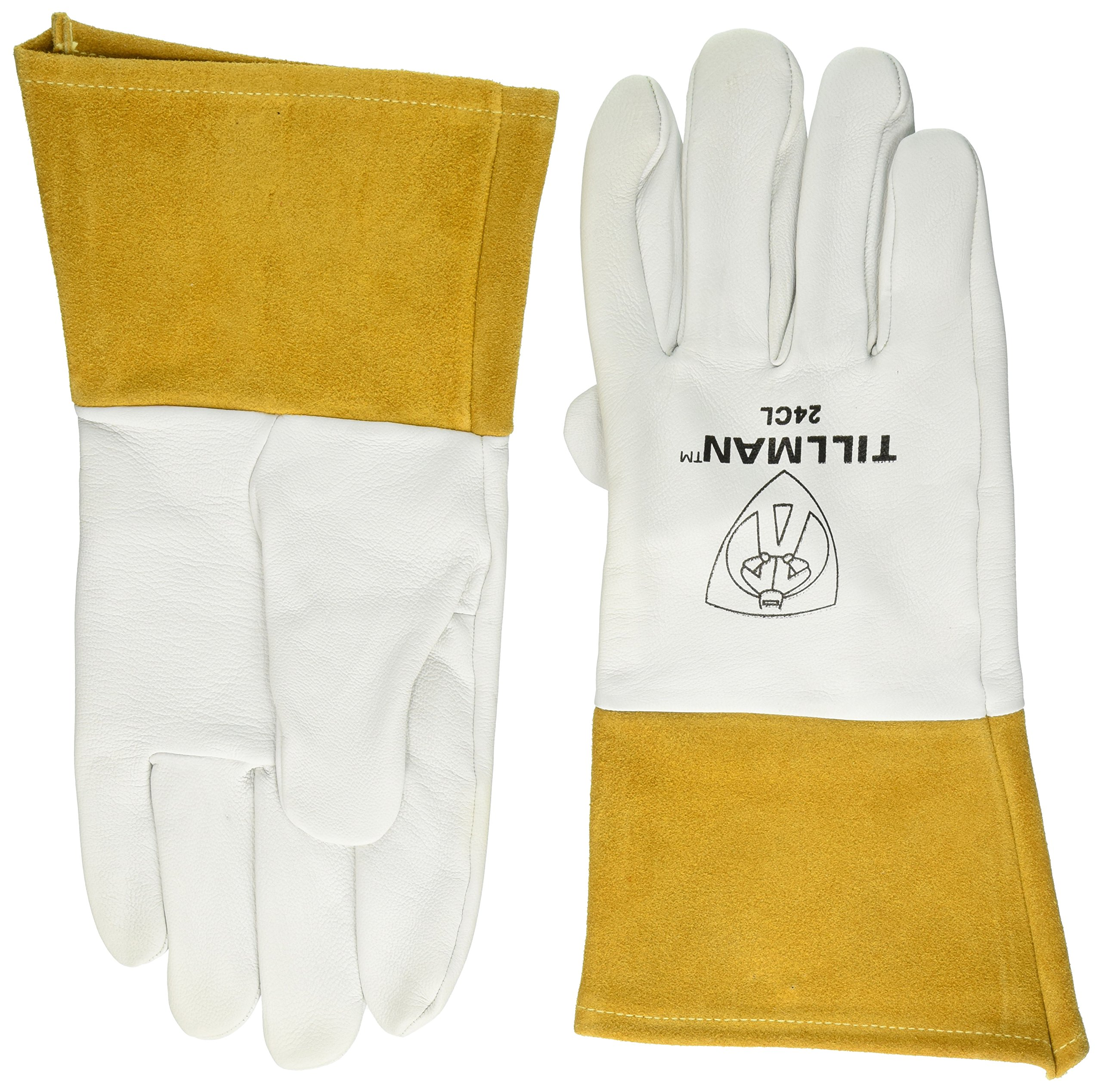 John Tillman and Co 24CL Premium Top Grain Pearl Kidskin MIG/TIG Welder's Glove with 4'' Cuff, Straight Thumb and Kevlar Thread, Large