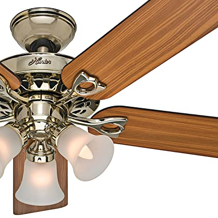 Hunter Fan 52 In Ceiling With Three Light Fitter And Remote Control