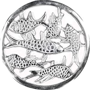 Home Essentials & Beyond 75357 Cast Aluminum Round Fish Trivet44; 7.5 in.