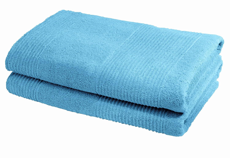Fleuresse 2828 - Toalla de ducha, 70 cm x 140 cm, 2 unidades, color azul: Amazon.es: Hogar
