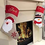 Personalised Christmas Stocking, santa and snowman personalised stocking