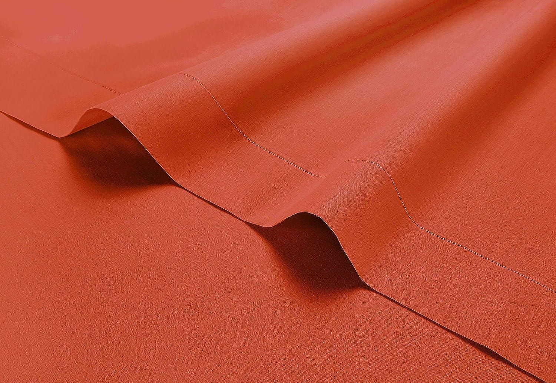 King 100 /% percale de coton /égyptien Uni taupe 200/fils au pouce carr/é Drap de lit plat