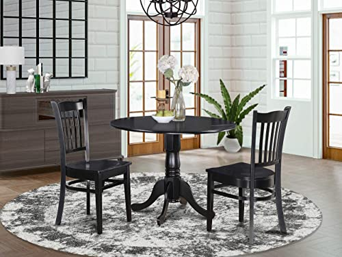 DLGR3-BLK-W 3 PC small Kitchen Table and Chairs set-round Kitchen Table and 2 dinette Chairs