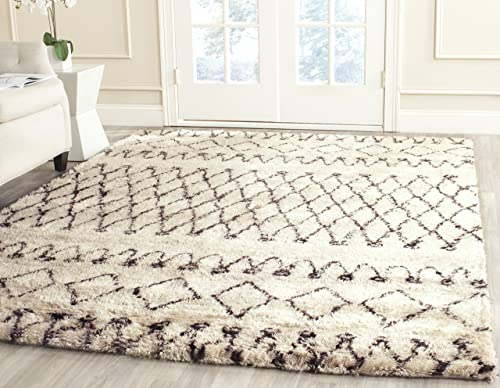 Safavieh Casablanca Shag Collection CSB851A Southwestern Ivory and Natural Premium Wool Cotton Area Rug 6' x 9'