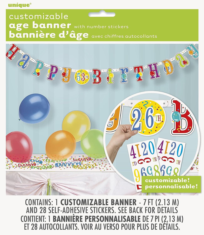 2 m Happy Birthday avec Autocollants Num/érique Banderole de Lettres 61680 Unique Party