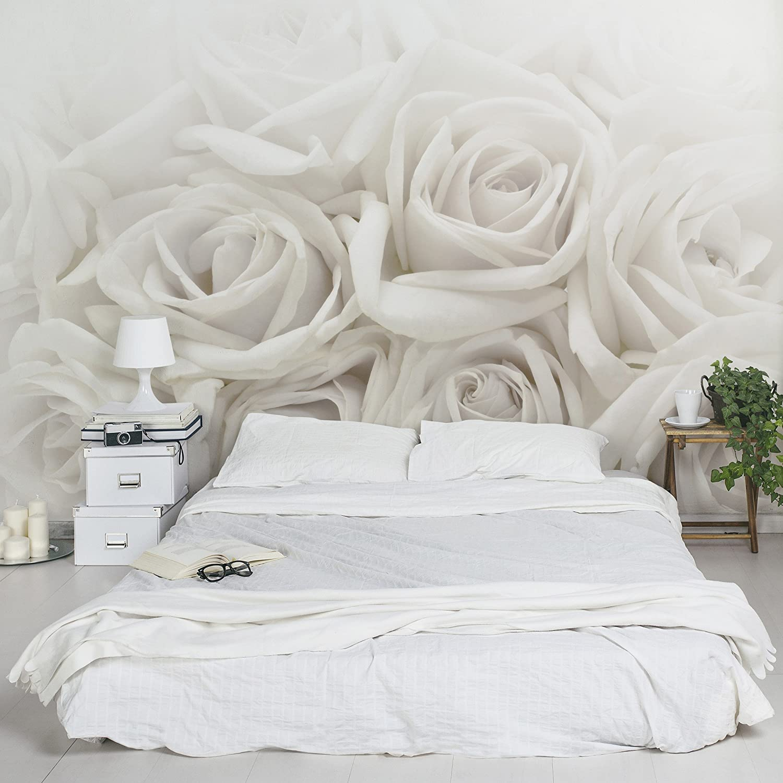 Stunning fotomurale premium white roses carta da parati largo fotomurali fotomurale tappezzeria - Parati per camera da letto ...