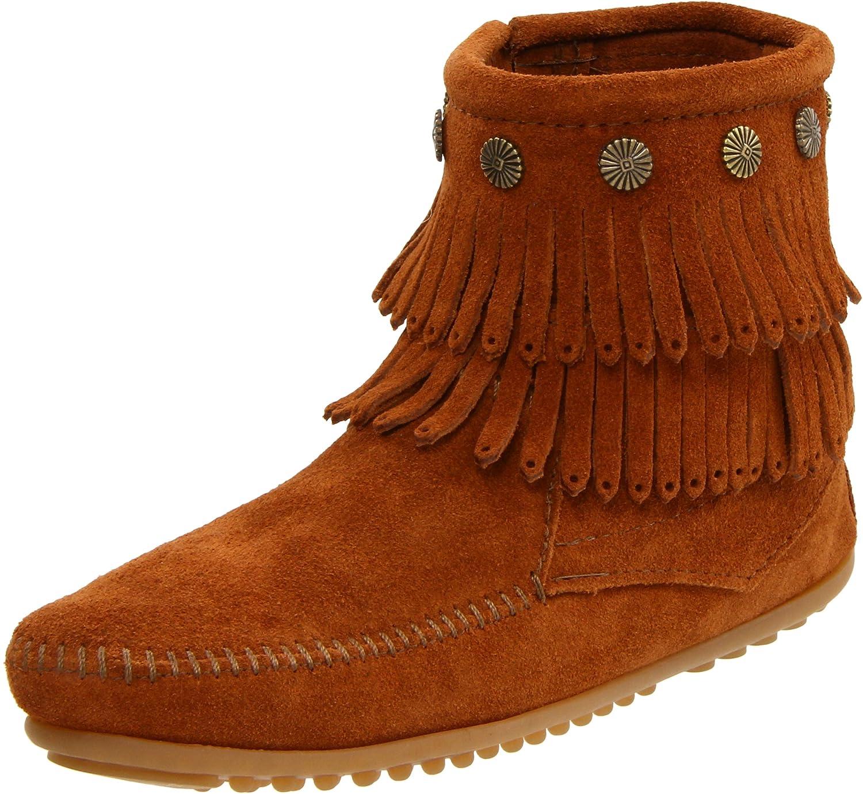 Minnetonka Double Fringe Side Zip Boot, Stivali Mocassino da donna Marrone Braun/Brn)