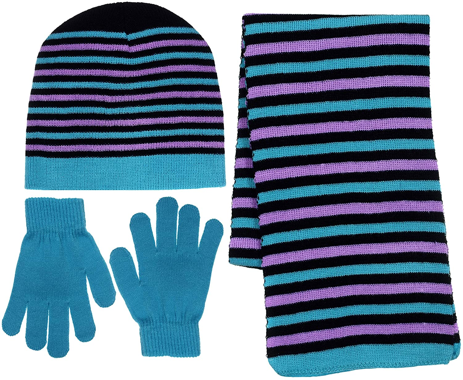 Girls 3 Piece Knit Hat, Scarf & Gloves Set Winter Accessories for Girls Girl's 3 Piece Knit Hat OSFM B8E1252L
