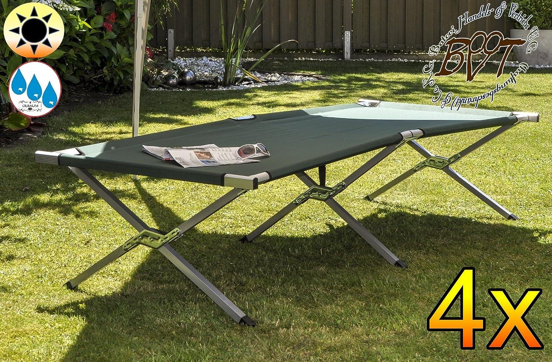 4 X PREMIUM Feldbett, US Style Grün Dunkelgrün, Robuste Liege Für Garten  Und Strand, Picknick Und Lagerfeuer, Stabile Gartenliege, Klappbare  Sonnenliege ...