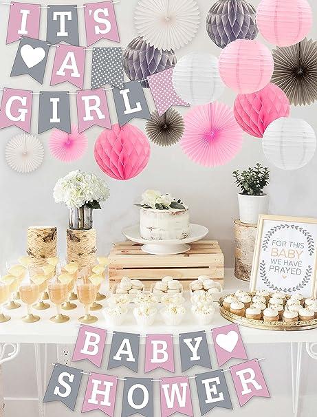 amazon com rainmeadow premium baby shower decorations for girls kit
