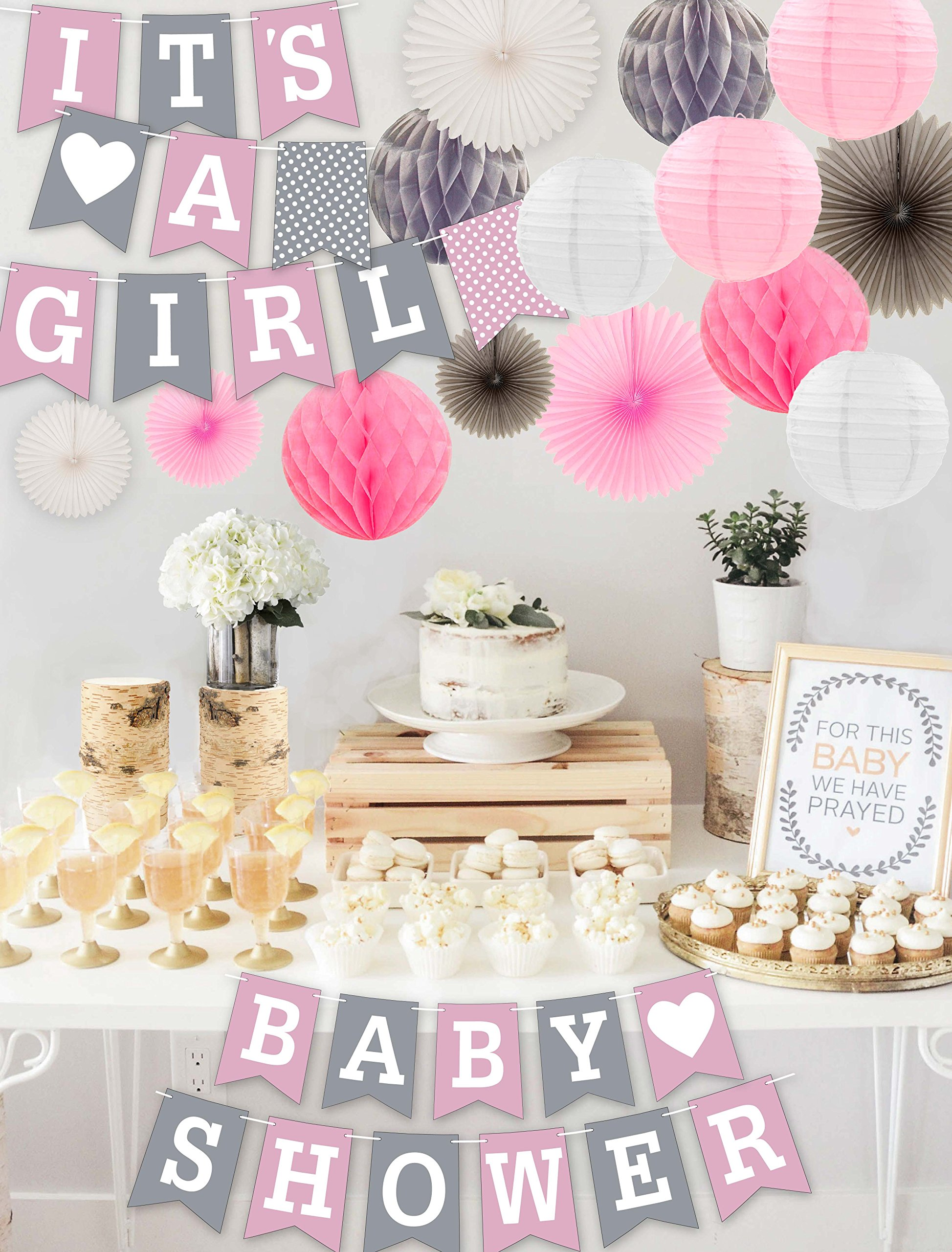 RainMeadow Premium Baby Shower Decorations for Girls Kit | It's A Girl | Garland Bunting Banner, Paper Lanterns, Honeycomb Balls | Tissue Paper Fans | Pink Grey White | Elephant Style