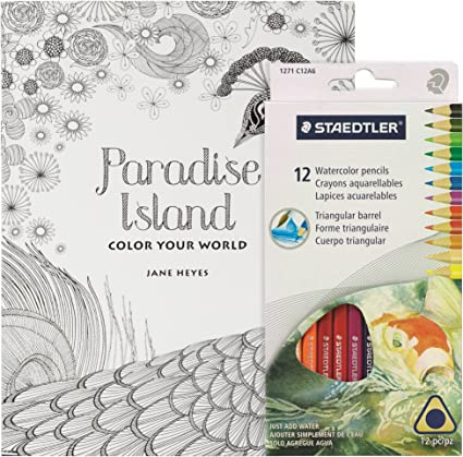 Amazon.com: Adult Coloring Book Set - 50 Page Detailed Coloring Book For  Adults Relaxation With 12 Staedtler Watercolor Colored Pencils For Adult Coloring  Books: Toys & Games