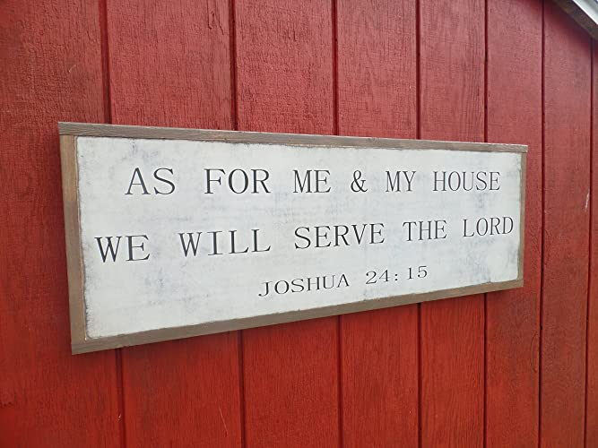 As for Me and My House We will Serve the Lord Sign Joshua 24:15 Wood Wall Art 3' x 1' Bible Verse Distressed Sign