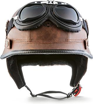 "Moto Helmets/® D33-Set /""Black/"" /· Brain-Cap /· Halbschale Jet-Helm Motorrad-Helm Roller-Helm Scooter-Helm Bobber Mofa-Helm Chopper Retro Cruiser Vintage Pilot Biker Helmet Brille Visier /· L 59-60cm"